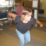 Lisa maintains her form as she adjusts for some challenging bowling conditions