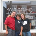 David, Michael and Sarah at Woody's Pizzeria